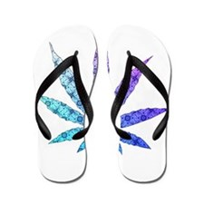 Blue To Violet Marijuana Leaf Art Flip Flops