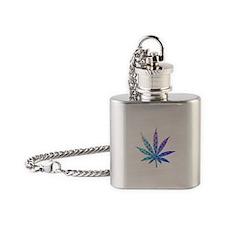 Blue To Violet Marijuana Leaf Art Flask Necklace