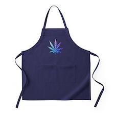 Blue To Violet Marijuana Leaf Art Apron (dark)