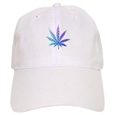 Blue To Violet Marijuana Leaf Art Baseball Cap