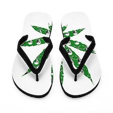 Green Skull Marijuana Leaf Art Flip Flops