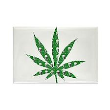 Green Skull Marijuana Leaf Art Rectangle Magnet