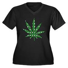 Green Skull Marijuana Leaf Art Women's Plus Size V