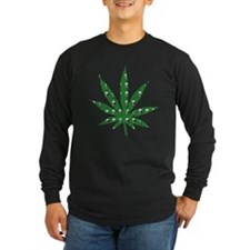 Green Skull Marijuana Leaf Art T