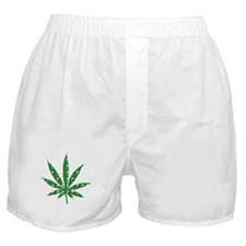 Green Skull Marijuana Leaf Art Boxer Shorts