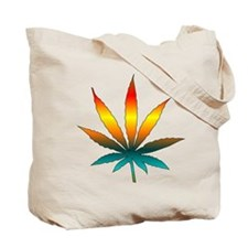 Green Skull Marijuana Leaf Art Tote Bag