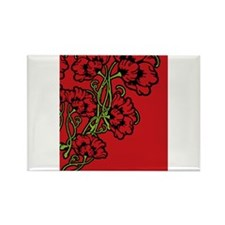 Red Art Nouveau Flower Motif Rectangle Magnet