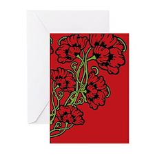 Red Art Nouveau Flower Motif Greeting Cards (Pk of