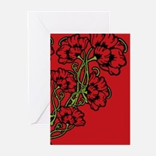 Red Art Nouveau Flower Motif Greeting Cards (Pk of