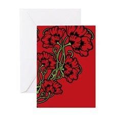 Red Art Nouveau Flower Motif Greeting Card