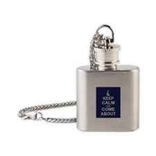 Keep Calm and Come About Flask Necklace