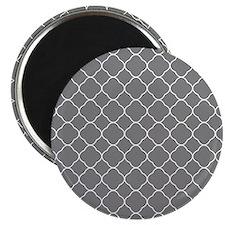 Gray Quatrefoil Pattern Magnet