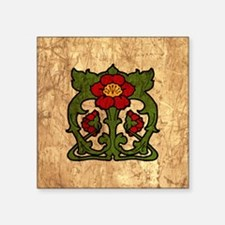"""Art Nouveau Floral Motif Square Sticker 3"""" x 3"""""""