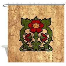Art Nouveau Floral Motif Shower Curtain