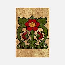 Art Nouveau Floral Motif Rectangle Magnet