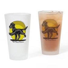 Flat Coated Retriever Illustration Drinking Glass