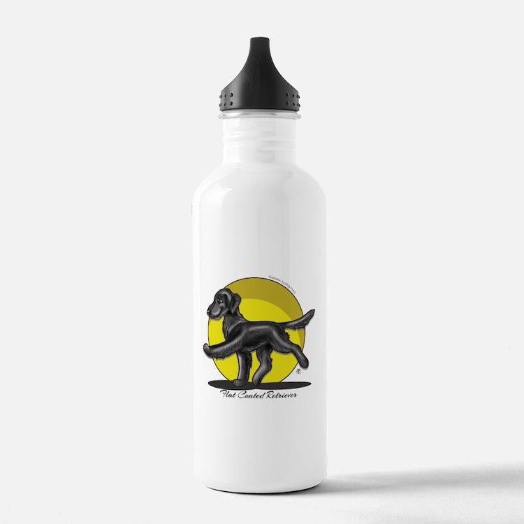 Flat Coated Retriever Illustration Water Bottle