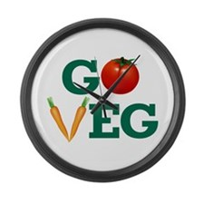 Go Veg Stacked Large Wall Clock