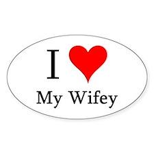 I Love My Wifey Oval Decal