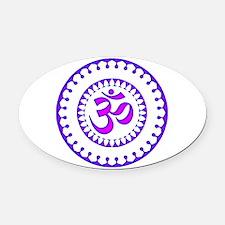 Ornate Om Smybol Purple Oval Car Magnet