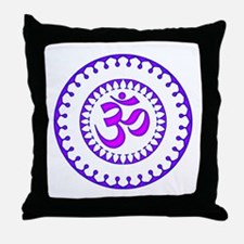 Ornate Om Smybol Purple Throw Pillow