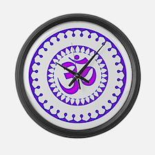 Ornate Om Smybol Purple Large Wall Clock