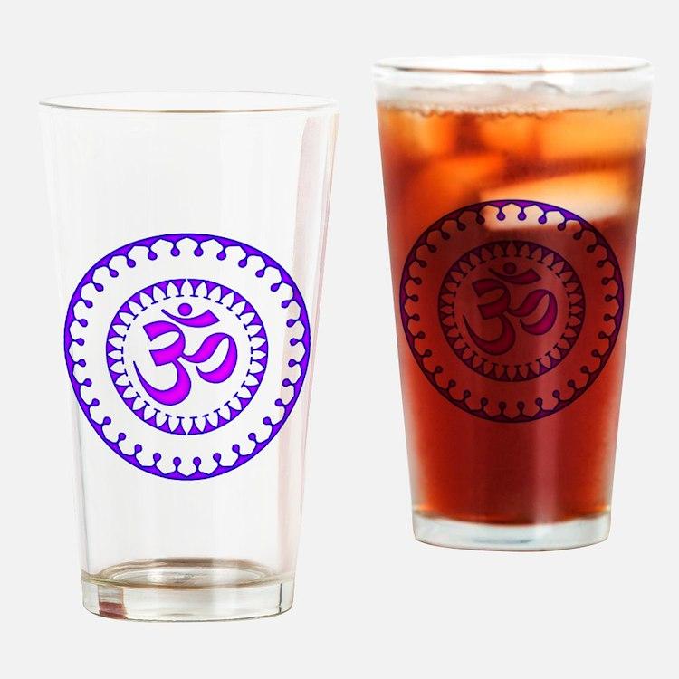 Ornate Om Smybol Purple Drinking Glass