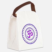 Ornate Om Smybol Purple Canvas Lunch Bag