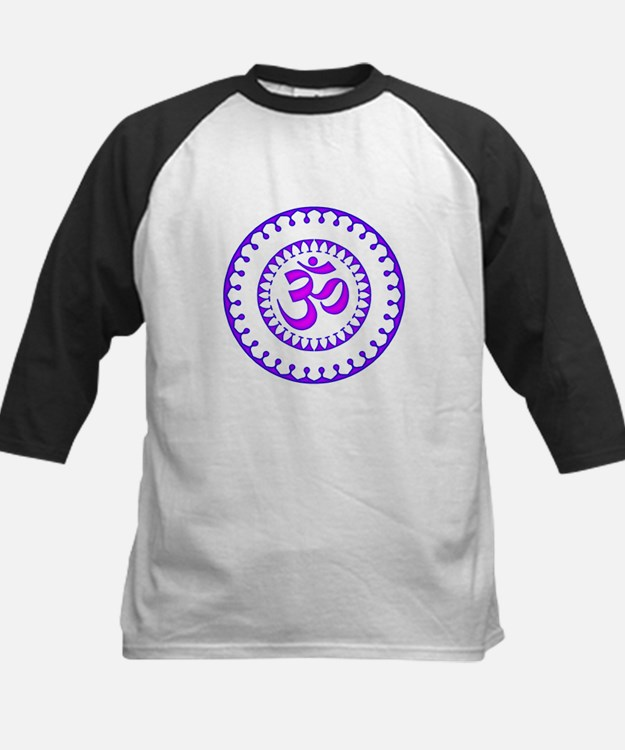 Ornate Om Smybol Purple Baseball Jersey