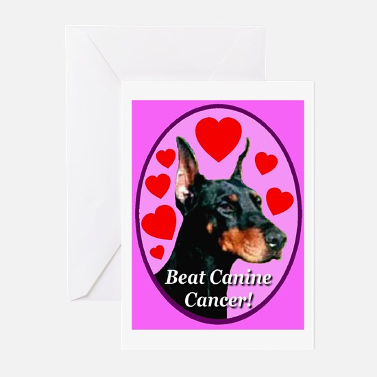 Beat Canine Cancer Cyan Greeting Cards (Package of