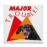 Dachshund Trouble Tile Coaster