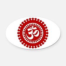 Ornate Om Red Oval Car Magnet