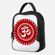 Ornate Om Red Neoprene Lunch Bag