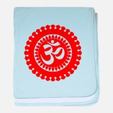 Ornate Om Red baby blanket