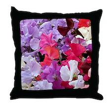 Sweet peas flowers in bloom Throw Pillow