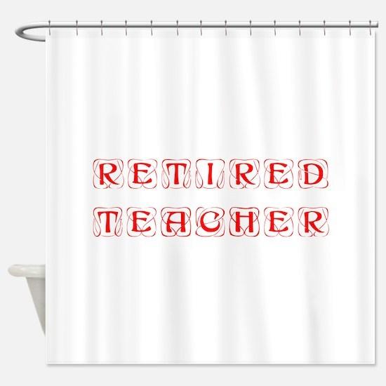retired-teacher-kon-red Shower Curtain