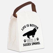 Life is better with Sussex Spaniel Canvas Lunch Ba