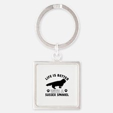 Life is better with Sussex Spaniel Square Keychain