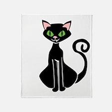 Retro Black Cat Throw Blanket