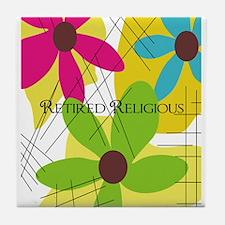 Retired Religious 5 floral Tile Coaster