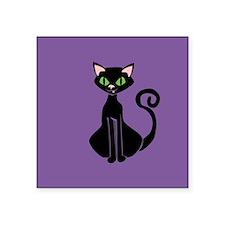 "Retro Black Cat Square Sticker 3"" x 3"""