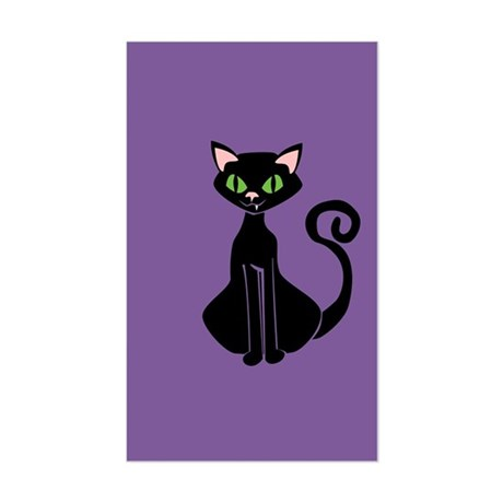 Retro Black Cat Sticker (Rectangle)