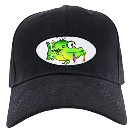 Bass fish cartoon baseball hat by fisheadtackle for Bass fishing hats