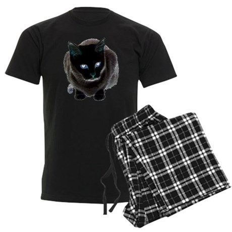Black Cat Blue Men's Dark Pajamas