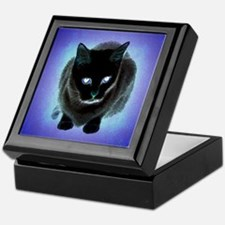 Black Cat Blue Keepsake Box