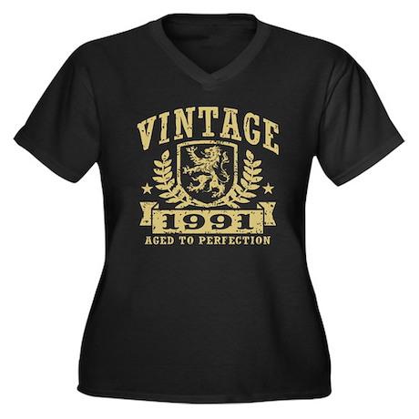 Vintage 1991 Women's Plus Size V-Neck Dark T-Shirt