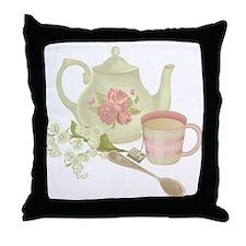 Vintage Old English Teapot Throw Pillow