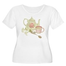 Vintage Old English Teapot Plus Size T-Shirt