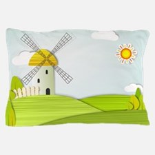 Artistic Windmill Landscape Pillow Case