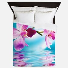 Beautiful Orchids Water Reflection Queen Duvet